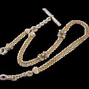 Antique Victorian ornate 24 gram mans 14k gold pocket watch vest chain with pearl slides