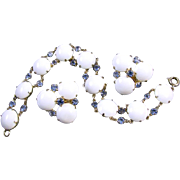 Vintage signed Hattie Carnegie white milk glass and sapphire bracelet and clip earrings demi parure
