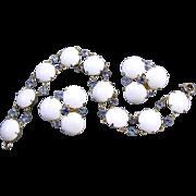 Vintage signed Hattie Carnegie white milk glass and sapphire bracelet and clip earrings demi parure