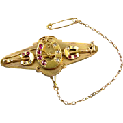 Antique mid Victorian 14k gold ruby and diamond equestrian horse shoe riding crop locket back brooch pin original safety