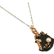 Antique Victorian 14k gold black onyx pearl mourning pendant necklace