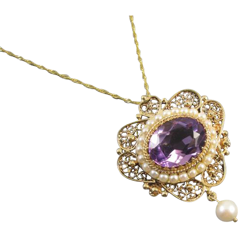 Vintage estate 14k gold amethyst pearl beaded filigree pendant necklace brooch pin