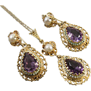 Vintage estate 14k gold amethyst pearl beaded filigree pendant necklace and pierced earrings demi parure set