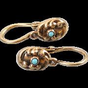 Antique Edwardian 14k gold Persian blue turquoise tiny reverse lever back pierced earrings