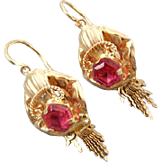 Clam shell and fringe .800 19k pink gold Portuguese earrings red ruby pastes reverse lever back pierced earrings