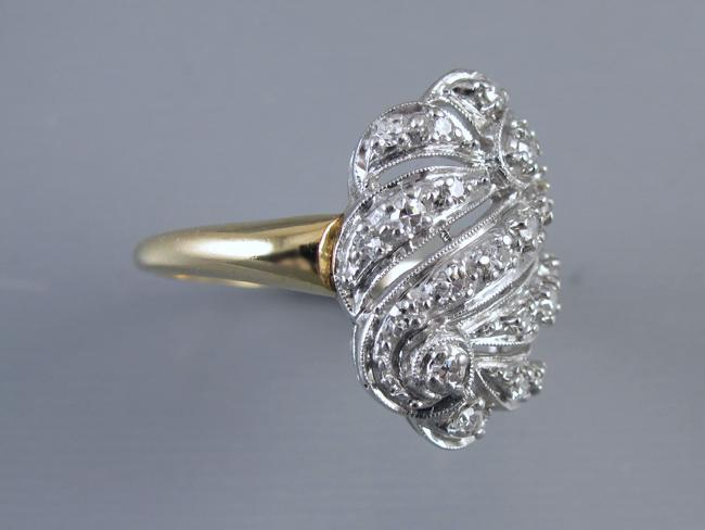 Vintage 14k white and yellow gold diamond Priscilla cocktail cluster ring size 9