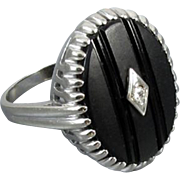 Vintage Art Deco 10k white gold black onyx and diamond statement ring size 9-1/4