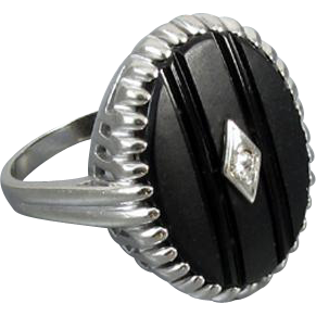 Vintage Art Deco 10k white gold black onyx and diamond statement ring size 9-1/4