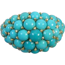 Vintage Italian 18k gold Persian blue turquoise bombe dome ring, size 5-1/2