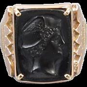 Mans antique Victorian 10k rose gold black onyx Mercury cameo ring size 9