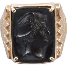 Mans antique Victorian 10k rose gold black onyx Mercury cameo ring size 9