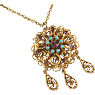 Ornate brass vintage Victorian Revival faux blue turquoise and purple amethyst paste pendant necklace