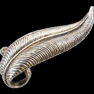 Signed Danecraft vintage sterling silver textured leaf brooch pin pendant
