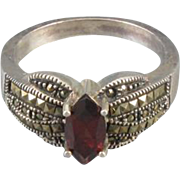 Judith Jack estate sterling silver marcasite and garnet marquise ring size 9