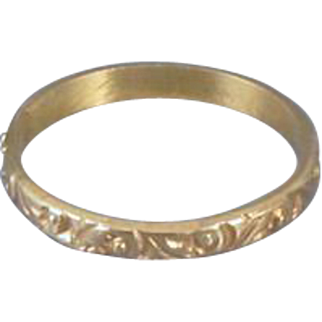Vintage 10k gold ornate baby infant childs midi band ring