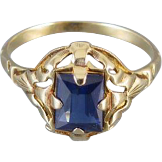 Vintage Art Deco 10k synthetic blue sapphire ring signed House of Kraus, size 7