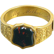 Antique mid-Victorian high karat 20K gold Scottish bloodstone Memento Mori Mourning In Memory Mother hair ring unisex band size 9