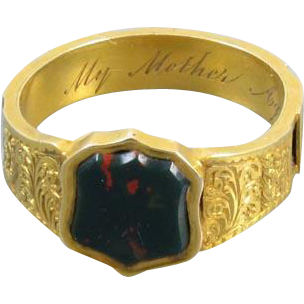 Mans antique mid-Victorian high karat 20K gold Scottish bloodstone Memento Mori Mourning In Memory Mother hair band ring, size 9