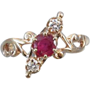 Signed Allsopp Steller Antique Victorian rose gold ruby and diamond ring size 5-1/4