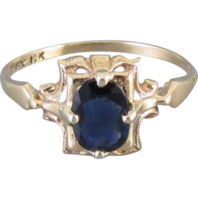 Vintage Art Deco 10k blue sapphire ring signed House of Kraus, size 5
