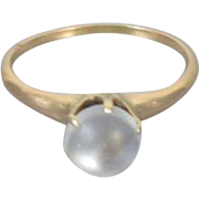 Antique Victorian 14k gold moonstone cabochon solitaire ring size 7-1/4