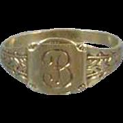 Vintage Art Deco 10k green gold letter B signet baby infant childs midi band ring size 1