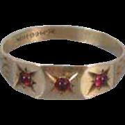Antique Edwardian 10k gold ruby/garnet paste baby infant childs midi band ring size 2 SMCO