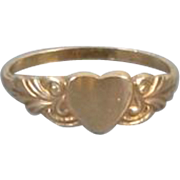 Antique Edwardian 10k gold baby infant child heart shaped signet ring signed BDA Budlong Docherty and Armstrong size 1/2