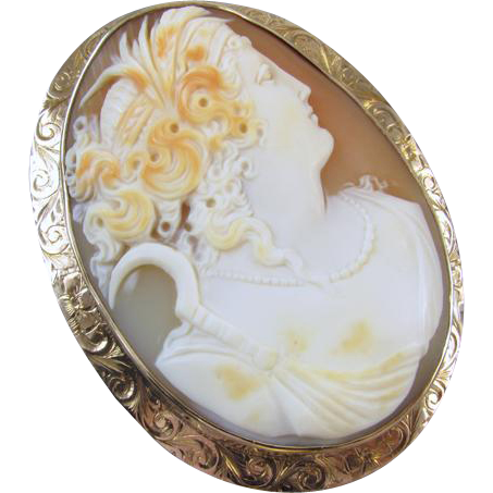 LARGE 1913 antique Edwardian rose gold cameo brooch pin pendant signed Untermeyer Robbins Company