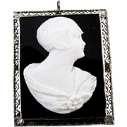 Vintage Art Deco 14k white gold filigree black and white hardstone sardonyx flapper girl with bobbed hair cameo brooch pin pendant