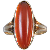Antique Edwardian 10k rose gold carnelian cabochon midi pinky pinkie ring size 4