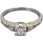 Vintage Art deco 18k white gold .08 carat diamond engagement ring size 5 signed David Karp Company, Inc
