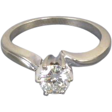 Vintage estate 14k white gold .52 carat diamond engagement wedding bridal solitaire ring size 5-1/2