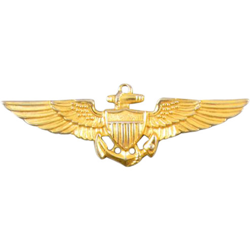 Vintage WW2 WW11 gold filled US Navy Pilot full size military wings brooch pin signed Gemsco