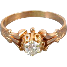 Antique Edwardian 14k rose gold .28 ct European cut diamond bridal wedding solitaire engagement ring size 6
