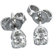 14k white gold .33ct VS2-SI1/J-K diamond solitaire pierced stud earrings