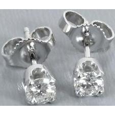 14k white gold .33ct VS2-SI1/J-K diamond solitaire pierced stud earrings