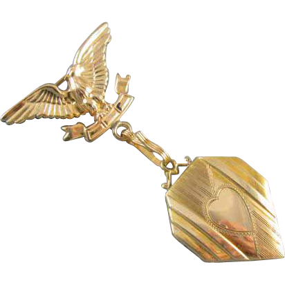 Vintage WW2 era gold filled locket with heart shaped center and eagle lapel brooch pin signed Samsan Company