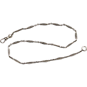 Signed JF Sturdy vintage Art Deco white gold filled bar link pocket watch chain 14-1/4 inch
