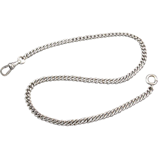 Vintage white gold filled signed HF Barrows pocket watch chain