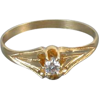 Antique Edwardian 14k gold .10 ct diamond bridal wedding solitaire engagement ring size 7.5