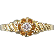 Antique Edwardian 14k gold .08 ct diamond bridal wedding solitaire engagement ring signed JR Wood and Sons, size 6-1/2