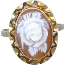 Vintage Italian 18k gold rose flower floral shell cameo ring, size 6.5