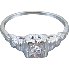 Vintage Art Deco 1920s 18k white gold .08 ct diamond bridal wedding engagement solitaire ring, size 7.5