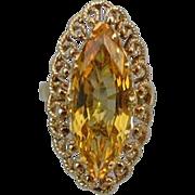MASSIVE vintage 18k gold marquise cut 7.42 carat citrine quartz statement cocktail ring, size 7