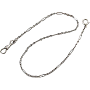 Vintage Art Deco white gold filled pocket watch chain signed Binder Brothers j191