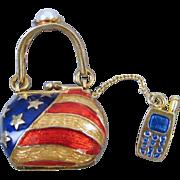 Modern estate enamel patriotic purse handbag charm with cell phone pearl USA American flag stars and stripes