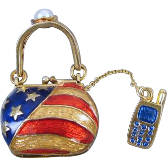 Modern estate enamel patriotic purse handbag charm with cell phone pearl USA American flag stars and stripes