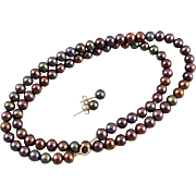 Modern estate chocolate brown genuine cultured pearl and 10k gold necklace and pierced earrings set 5.5mm to 6mm