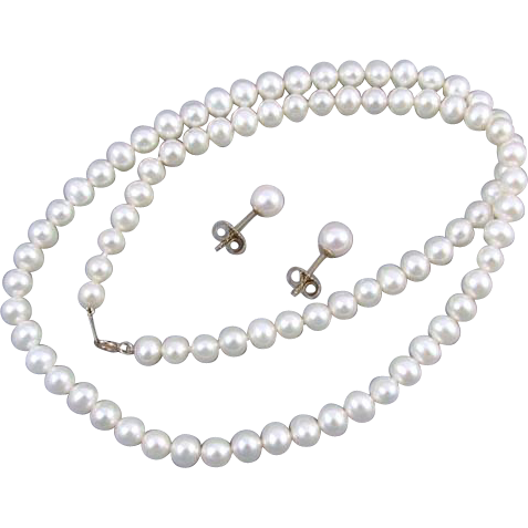 Modern estate genuine cultured pearl and 10k gold necklace and pierced earrings set 5.5mm to 6mm